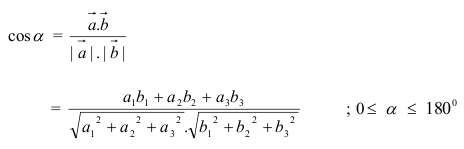 Rumus Besar Sudut antara Dua Vektor